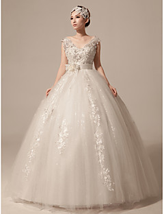 Ball Gown Wedding Dress Sparkle & Shine Floor-length V-neck Tulle with Appliques Beading