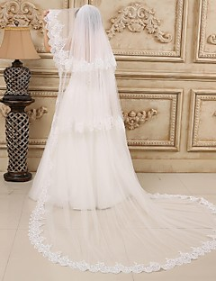Wedding Veil Three-tier Cathedral Veils Lace Applique Edge 118.11 in (300cm) Tulle / Lace