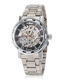 WINNER® Men's Elegant Skeleton Hollow Dial Silver Steel Band Mechanical Hand Wind Wrist Watch (Assorted Colors) Cool Watch Unique Watch