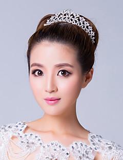elegante plata plateado aleación tiara de diamantes de imitación de la boda
