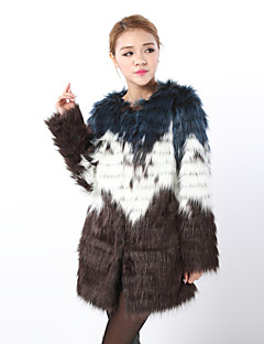Fur Coat Long Sleeve Collarless Faux Fox Fur Special Occasion/Casual Coat