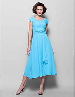 Lanting Bride® A-line Plus Size / Petite Mother of the Bride Dress Tea-length Short Sleeve Chiffon with Beading / Side Draping