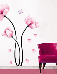 pegatinas de pared Tatuajes de pared, simples flores de color rosa de la pared del pvc pegatinas