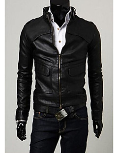 IAA Men's Handsome Leisure Slim PU Leather Coat