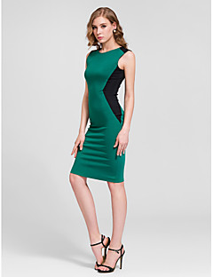 Cocktail Party Dress - Dark Green Plus Sizes Sheath/Column Jewel Knee-length Cotton
