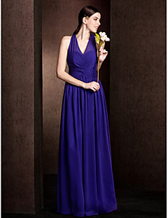 Lanting Bride® Floor-length Chiffon Bridesmaid Dress A-line / Princess V-neck Plus Size / Petite withSash / Ribbon / Criss Cross /