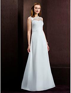 웨딩 드레스 - 아이보리(색상은 모니터에 따라 다를 수 있음) 시스/컬럼 바닥 길이 보석 쉬폰