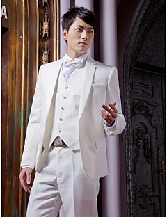 White Solid Slim Fit Tuxedo In Polyester