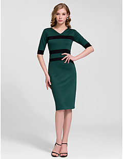 Cocktail Party Dress - Ruby Sheath/Column V-neck Knee-length Cotton