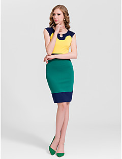 Cocktail Party Dress - Multi-color Sheath/Column Jewel Short/Mini Cotton
