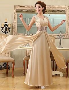 A-line v-krku délka podlahy saténové formální večerní šaty s křídly / stuhy záhyby