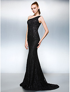 Dress - Black Sheath/Column One Shoulder Court Train Lace