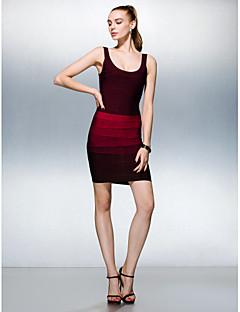 Dress - Multi-color Petite Sheath/Column Scoop Short/Mini Silk