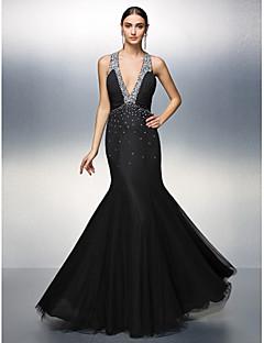 Fiesta de baile/Fiesta formal Vestido - Negro Corte A Hasta el Suelo - Escote en V Gasa/Tul