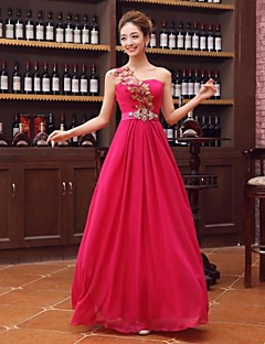 Formal Evening Dress A-line One Shoulder Floor-length Satin with Crystal Detailing / Flower(s) / Sash / Ribbon / Sequins