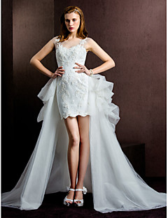 Lanting Bride Sheath/Column Wedding Dress-Short/Mini Scoop Tulle