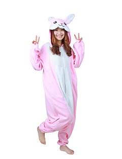 Kigurumi Pyjamas Kanin Trikot/Heldragtskostumer Festival/Højtider Nattøj Med Dyr Halloween Lyserød Patchwork Polarfleece Kigurumi Til