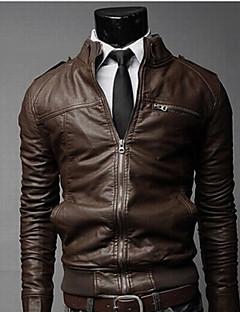 UP.YESS  Men's Stand Coats & Jackets , PU Long Sleeve Casual Pocket Fall