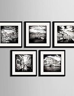 Landschap / Architectuur Ingelijst canvas / Ingelijste set Wall Art,PVC Zwart Inclusief passepartout met Frame Wall Art