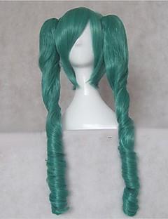 פאות קוספליי Vocaloid Hatsune Miku ירוק בינוני אנימה / משחקי וידאו פאות קוספליי 75 CM סיבים עמידים לחום נקבה