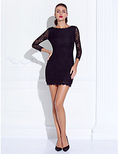 Prom/Formal Evening Dress - Black Sheath/Column Jewel Short/Mini Lace