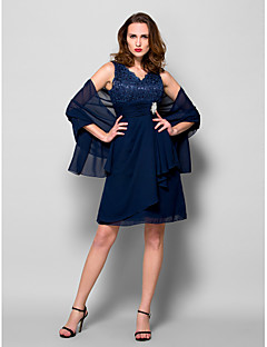 A-line Plus Size / Petite Mother of the Bride Dress - Wrap Included Knee-length Sleeveless Chiffon / Lace withLace / Crystal Brooch /