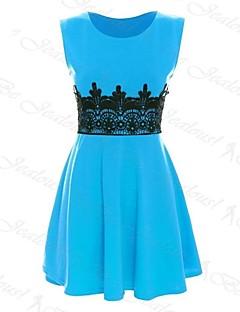 kvinders rund krave kontrast farve blonder patchwork kjole (flere farver)