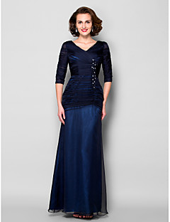 Lanting Sheath/Column Plus Sizes / Petite Mother of the Bride Dress - Dark Navy Floor-length Half Sleeve Chiffon / Tulle