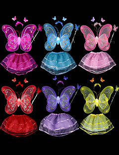 Lovely Butterfly Wings Princess Suit Kid's Festival Costume(4 Pcs)