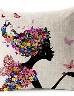 borboleta menina e padrão floral algodão / linho fronha decorativo