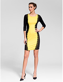 Cocktail Party Dress Sheath/Column Jewel Short/Mini Polyester