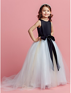 Ball Gown Jewel Sweep/Brush Train Satin And Tulle Flower Girl Dress (2174388)