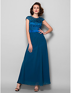 Lanting A-line Plus Sizes / Petite Mother of the Bride Dress - Ink Blue Ankle-length Short Sleeve Chiffon / Lace
