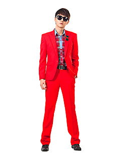 Red Solid Slim Fit Tuxedo In Polyester