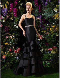 TS Couture Formal Evening Dress - Black Fit & Flare Spaghetti Straps Sweep/Brush Train Satin