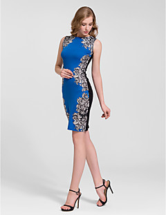 Homecoming Cocktail Party Dress - Royal Blue/Black Sheath/Column Jewel Knee-length Cotton