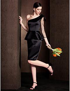 Knee-length Satin Bridesmaid Dress-Plus Size / Petite Sheath/Column One Shoulder