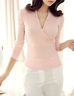 Women's Blue/Pink/White/Black/Yellow Pullover , Sexy Long Sleeve