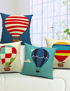 Ensemble de 4 Montgolfières coton / lin coussin décoratif couverture