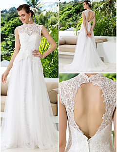 A-line Wedding Dress - Ivory Court Train High Neck Lace/Satin