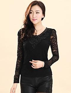 Blusa Da donna Casual Semplice Autunno / Inverno,Tinta unita Rotonda Nero Manica lunga Medio spessore