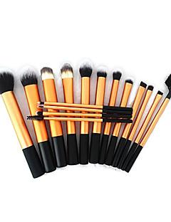 16pcs Gold Super Soft Taklon Hair Makeup Brush Basic Professional Kit