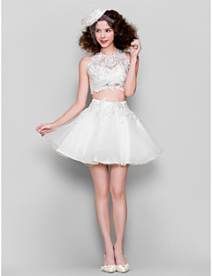 Homecoming Cocktail Party Dress - White Ball Gown Jewel Short/Mini Tulle/Lace