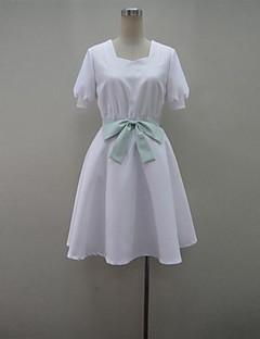 Inspiriert von Sword Art Online Yui Anime Cosplay Kostüme Kleider einfarbig Weiß Kurze Ärmel Kleid / Gürtel