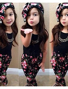 Girl's Black Sleeveless Top And Pants Clothing Set(Including Printed Headscarves)