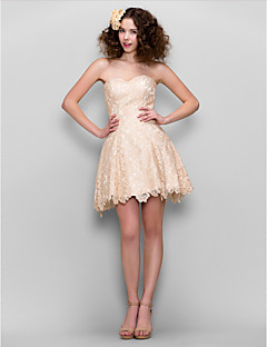 abito da cocktail party ritorno a casa - Champagne A-Line Sweetheart mini in pizzo / short