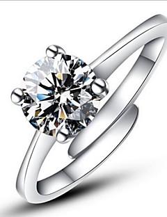 Dame uttalelse Ringe Forlovelsesring Kjærlighed Justerbare Mote Åpne Klassisk kostyme smykker Sølv Fuskediamant Fire tenger Smykker Til