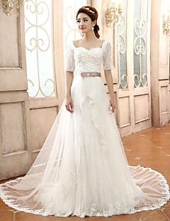 A-line/Princess Wedding Dress - Ivory Court Train Sweetheart Lace/Tulle