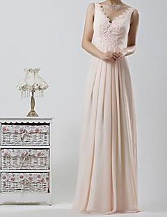 신부 들러리 드레스 A라인 바닥 길이 V넥 쉬폰