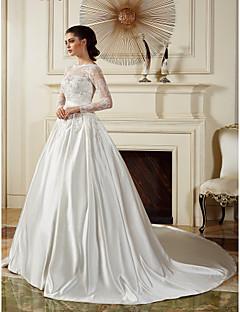 Ball Gown Wedding Dress - Ivory Chapel Train Bateau Satin